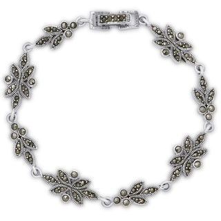 Dolce Giavonna Sterling Silver Marcasite Flower Design Bracelet