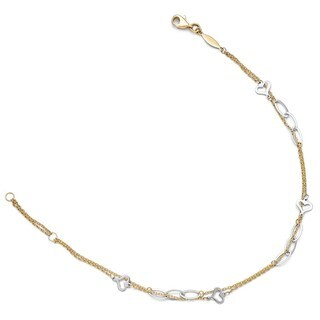 14 Karat Two-tone Polished Double Strand Anklet With 1 Inch ext