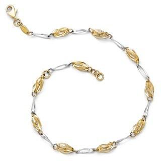 14 Karat Two-tone Polished Fancy Link Anklet