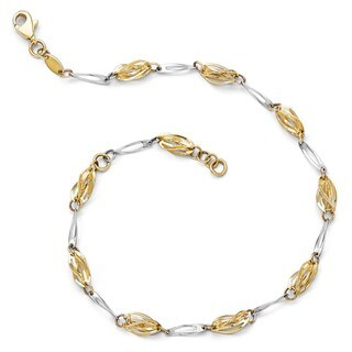 14 Karat Two-tone Polished Fancy Link Anklet