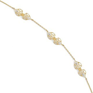 "14 Karat Polished 9"" Anklet With 1 Inch ext"