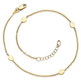 14 Karat Polished Anklet With 1 Inch ext