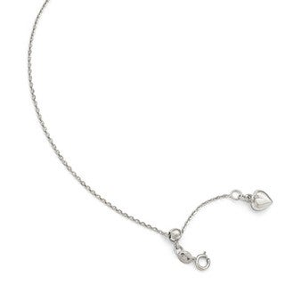 14 Karat White Gold Polished Dangle Heart Adjustable Anklet
