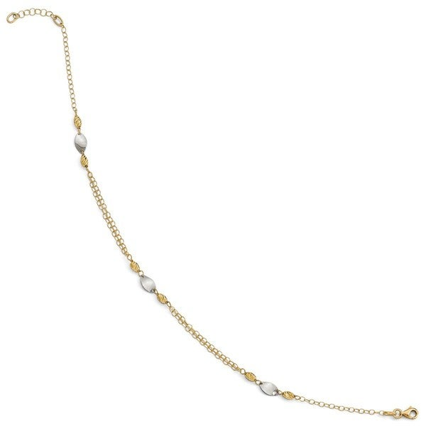 Jewelry & Watches Shop For Cheap 14k Gold Over Sterling Silver Two-tone Mini Diamond-cut Bar Cable Chain Anklet Fine Jewelry