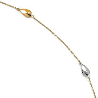 14 Karat Two-tone Polished with 1 Inch Extension Anklet