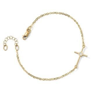 14 Karat Polished CZ Cross 1 Inch Extension Bracelet