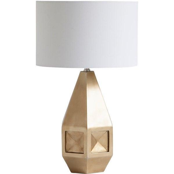 Mercana Bolten Goldtone Resin Table Lamp with White Shade