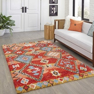 Momeni Margaux Red Tufted Rug 3 6 X 5
