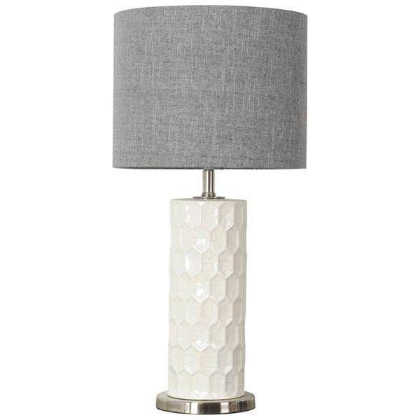 Mercana Bernier White/Grey Ceramic/Linen Table Lamp