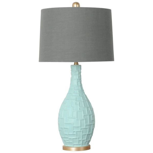 Mercana Bexley I Teal Ceramic Table Lamp with Grey Shade