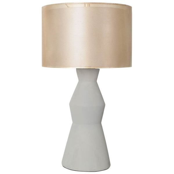Mercana Bouton White Concrete Table Lamp with Goldtone Shade