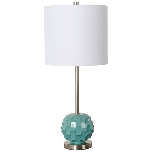 Mercana Brant II White Shade Teal Metal Table Lamp