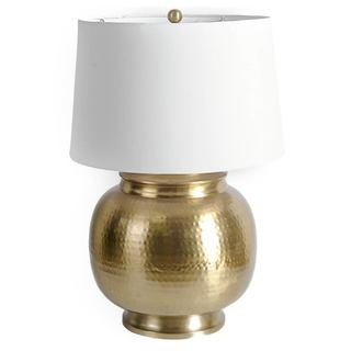 Mercana Denton Goldtone Metal Table Lamp with White Linen Shade