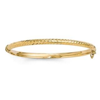 10 Karat Gold Polished Diamond-cut Hinged Bangle Bracelet