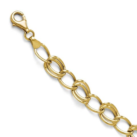 10K Yellow Gold Polished Flat Curb Link 7 Inch Bracelet by Versil