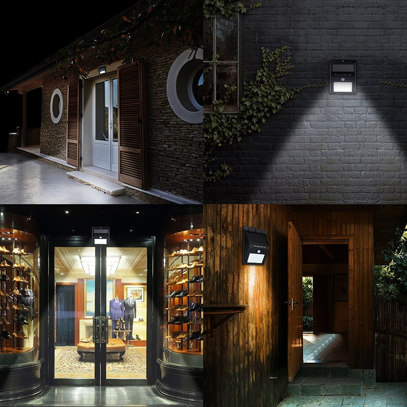 Outdoor Solar Light LED Lamp PIR Motion Sensor Wall Light Waterproof Door Garden