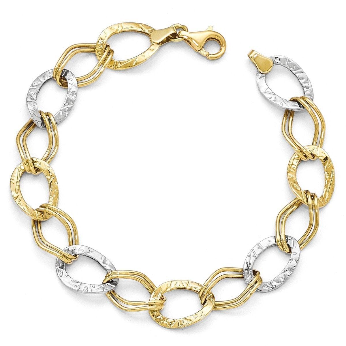 "Ladies 14k Two-Tone Gold 7mm Diamond-Cut Polished Oval Link Bracelet 7.25/"""