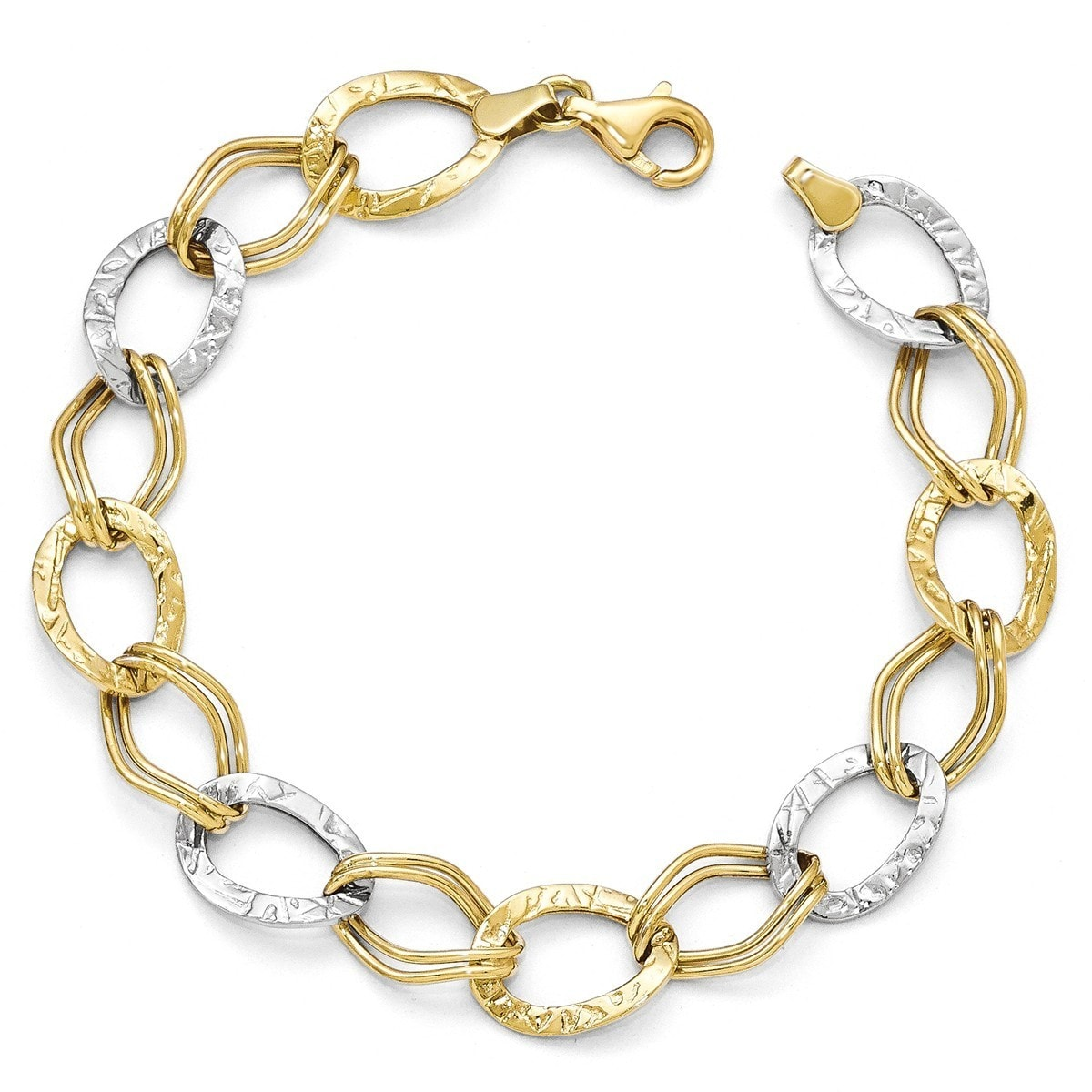 2019 New Style 14k Two Gold Abstract Fancy Link Design Ankle Bracelet 2.8 Grams Anklet Clearance Price Fine Jewelry
