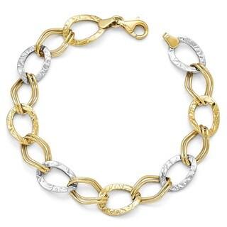 10 Karat Two-Tone Gold Polished and Textured Link Bracelet