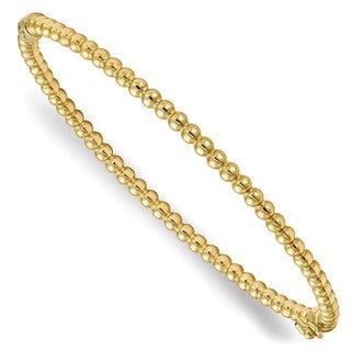 10 Karat Gold Polished Beaded Hinged Bangle