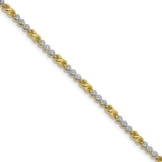 10 Karat Gold With Rhodium Diamond Cut Infinity & Heart Bracelet