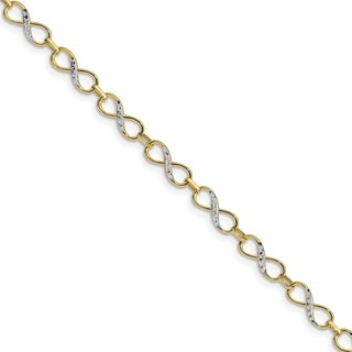 10 Karat Gold With Rhodium Diamond Cut Infinity Fancy Bracelet