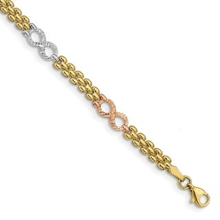 10 Karat Tri-Color Gold Reversible Infinity Bracelet