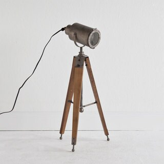Mercana Macinata Brown Wood Tripod Floor Lamp
