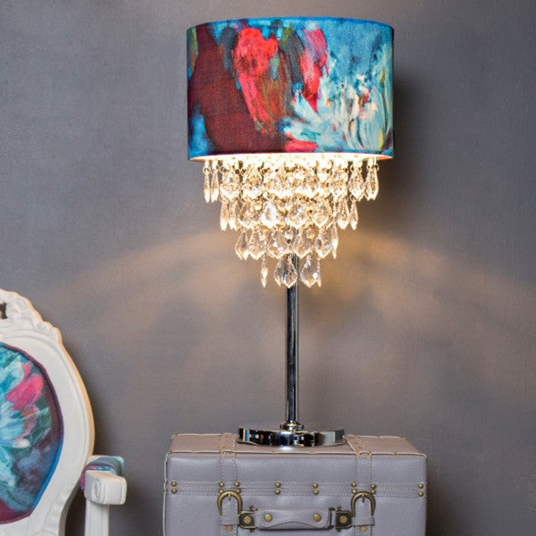 """25.75""""H Tiered Crystal & Chrome Table Lamp - Abstract Watercolor"""