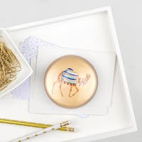 Camel Domed Glass Paperweight