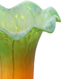 Handpainted Glass Replacement Lily Shade - Green/Amber