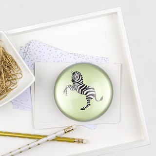 Zebra Domed Glass Paperweight