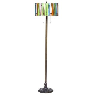 Serena d'italia Tiffany-style Drum Contemporary Floor Lamp