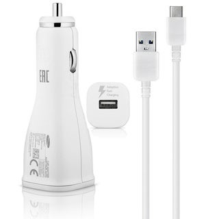 Samsung FAST CHARGE Type C USB Data Cable + Adaptive Fast Charging Car Charger - White
