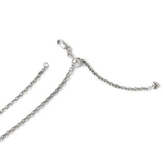 14 Karat White Gold 2.5 mm Adjustable Semi Solid Dia Cut Cable Chain
