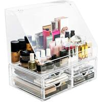 Sorbus Acrylic Makeup Organizer with Slanted Front Open Lid