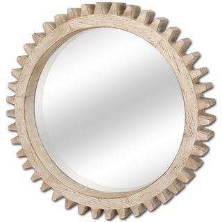 Mercana Cog White Wood-framed 35-inch Mirror - Off-White - A/N
