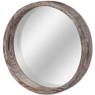 Mercana Whittier Brown Wooden Round Wall Mirror - Antique Brown - A/N