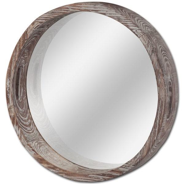 Mercana Whittier Brown Wooden Round Wall Mirror