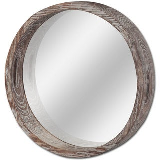 Mercana Whittier Brown Wooden Round Wall Mirror