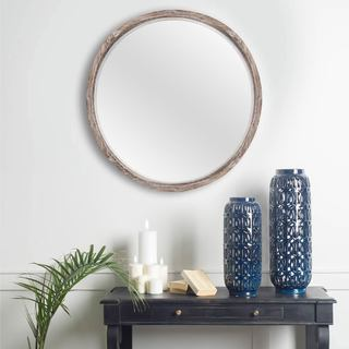 Mercana Whittier Brown Wood Large Accent Mirror