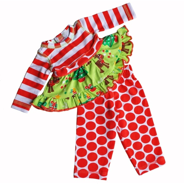 AnnLoren Red Christmas Theme Doll Clothing Outfit Fits 18-inch Dolls