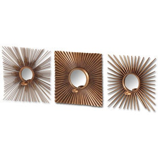 Mercana Andros Goldtone Metal Starburst Votive Candle Holder Wall Mirror (Set of 3)