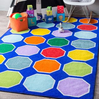 nuLOOM Playtime Geometric Color Octagons Educational Blue Kids Rug (3'3 x 5')