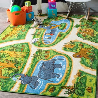 nuLOOM Contemporary Kids Playtime Animals Zoo Green Rug (3'3 x 5')