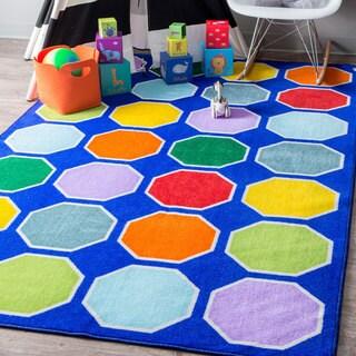 nuLOOM Blue Playtime Geometric Octagons Educational Kids Area Rug