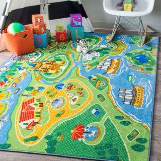 nuLOOM Playtime Fantasy Kids Castle Harbor Green Rug (5' x 7'5)