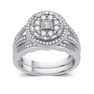 1/2 CTTW Diamond Bridal Set In Sterling Silver (I-J, I2-I3)