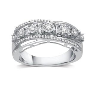 1/4 CTTW Diamond Criss-Cross Ring in Sterling Silver (I-J, I2-I3) - White I-J