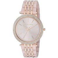 Michael Kors Women's  'Darci' Crystal Pink and Rose-Tone Stainless steel and Acetate Watch - silver